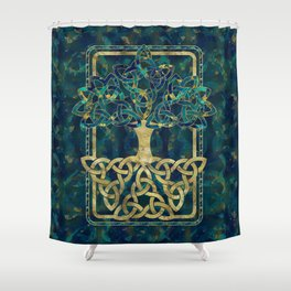 Tree of life - Yggdrasil with Triquetra  symbols Shower Curtain