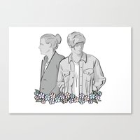 larry stylinson Canvas Prints featuring Larry Stylinson - black and white by Feds