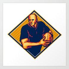 Rugby Player Running Ball Retro Art Print