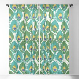 Abstract Peacock Pattern Sheer Curtain