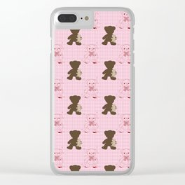 The Adventures of Bear and Baby Bear-Pink Argyle Clear iPhone Case