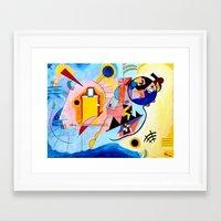 kandinsky Framed Art Prints featuring Yellow Red Blue - Tribute to Kandinsky by ArtvonDanielle