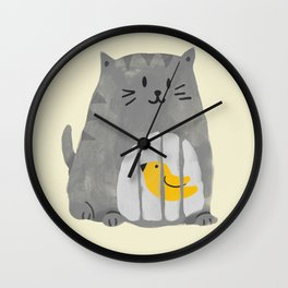 A cat that swallows a bird Wall Clock