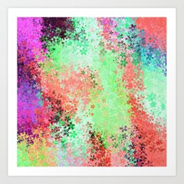 flower pattern abstract background in green pink purple blue Art Print