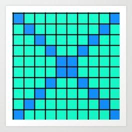 Aqua and Blue Grid Art Print