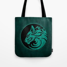 Teal Blue Growling Wolf Disc Tote Bag