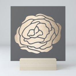 Rose in White Gold Sands on Storm Gray Mini Art Print