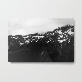 Black and White Snowy Mountains Metal Print