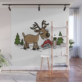 Reindeer Munches Magic Mushrooms Wall Mural