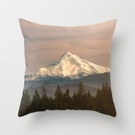 Mount Hood Vintage Sunset - Nature Landscape Photography Throw Pillow