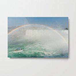 Rainbow on Boat in Niagara Falls Metal Print
