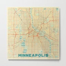 Minneapolis Map Retro Metal Print