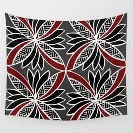Red Tapa Design Wall Tapestry