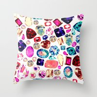 gem Throw Pillows featuring GEM by Liz Haywood
