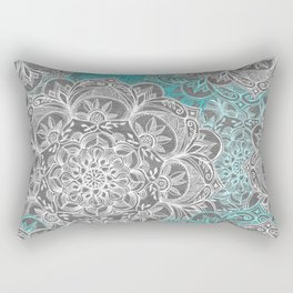 Turquoise & White Mandalas on Grey Rectangular Pillow
