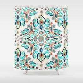 Modern Folk in Jewel Colors Shower Curtain
