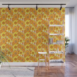 Pushing daisies orange and yellow Wall Mural