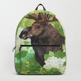 Moose watercolor in green nature Backpack
