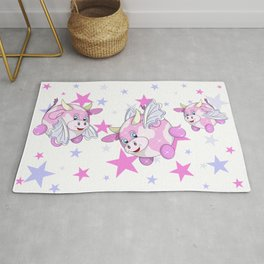 adorable flying pink bubble cows Rug