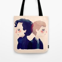 221b Tote Bags featuring 221B by Nan Lawson