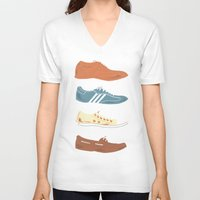 shoes V-neck T-shirts featuring Shoes by Things and Other Things