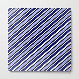 TEAM COLORS 1....Dk Blue, light blue, black white diagonal stripe Metal Print