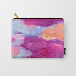 Red Lips and Rosy Cheeks, Magenta, Coral, Light Blue Abstract Art Carry-All Pouch
