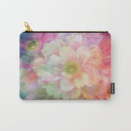 Artistic colorful pink paint brushstrokes flowers Carry-All Pouch