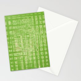 Shiny white tiles on green background Stationery Cards