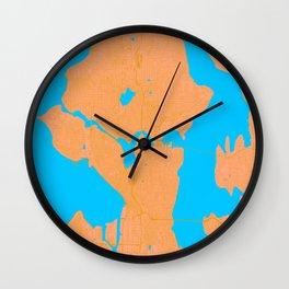 Seattle Map Blue Orange Wall Clock