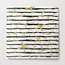 Pattern with brush stripes and gold glitter cross Metal Print