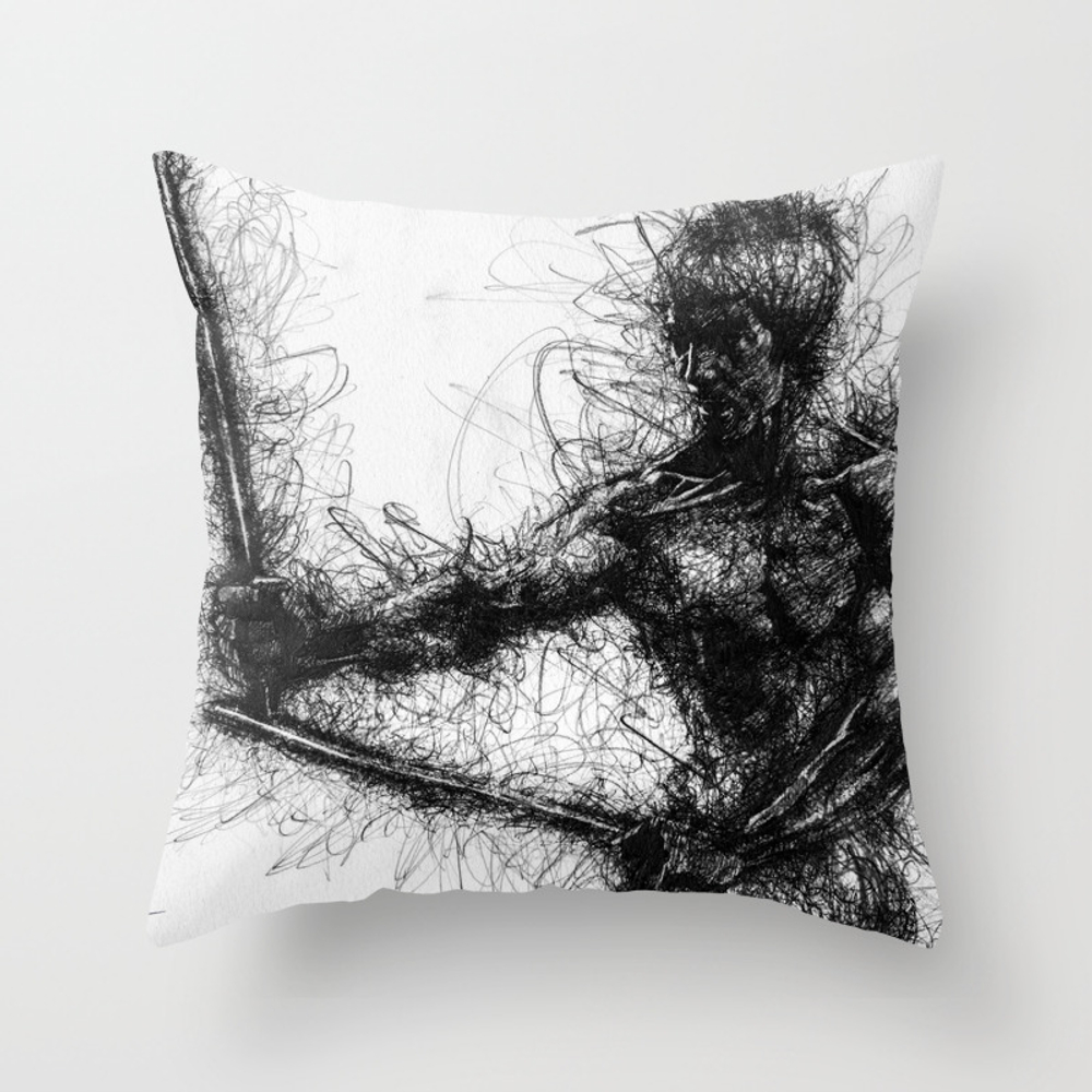 Bruce Kung Fu Master Lee, Drawing, Wall Art, Kung … Throw Pillow by Juliolucas PLW8502345