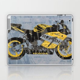 Honda Repsol newspaper collage, original art for men, gift for him, blue, yellow Laptop & iPad Skin
