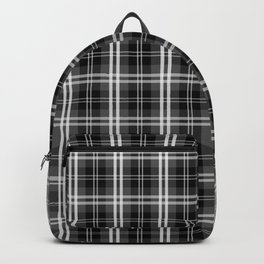 Classic Black and White Tartan Plaid Check Backpack