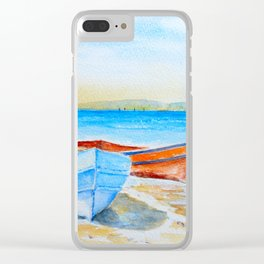 Watercolor beach and fishing boats Clear iPhone Case