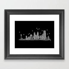 Seattle, Washington City Skyline Framed Art Print