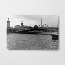 Eiffel tower and bridge, Paris, France Metal Print