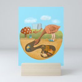 Ostrich and mouse. Mini Art Print