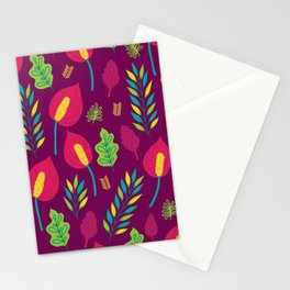 Tropical Flora 6 On Deep Magenta Stationery Cards