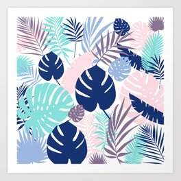 Tropical Leaves Blue Purple Art Print
