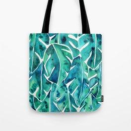 Split Leaf Philodendron – Teal Tote Bag