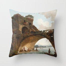 The Ponte Salario Oil painting by Hubert Robert Throw Pillow