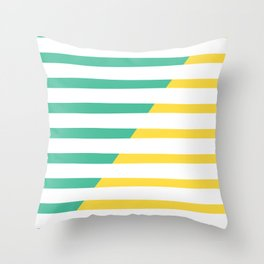 Beach Stripes Green Yellow Throw Pillow