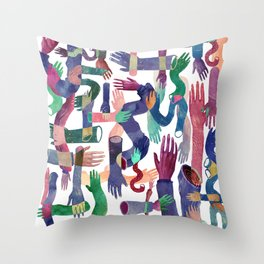 Color Hands Throw Pillow