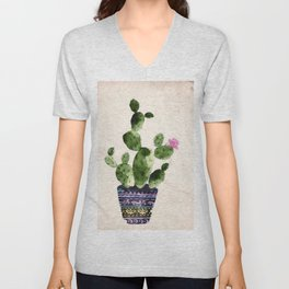 Blooming Cactus Unisex V-Neck