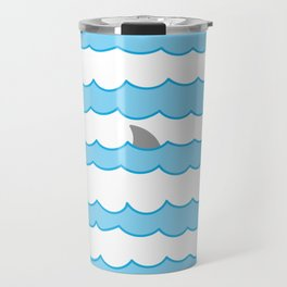 Funny Minimal Illustration Shark Fin and Waves Travel Mug
