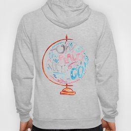 Oh The Places You'll Go - Vintage Globe Typography Pink Blue Grey Hoody