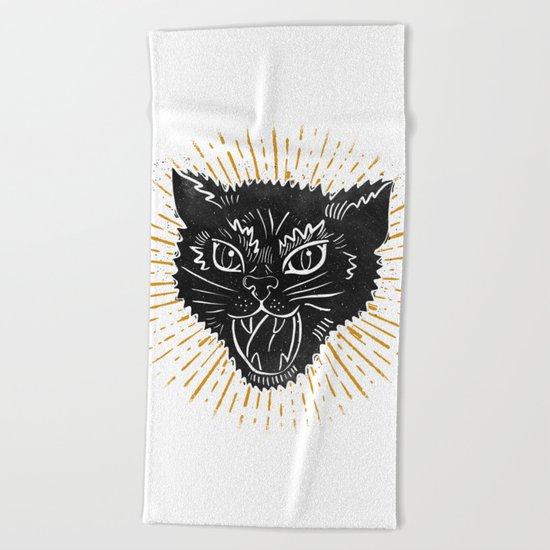 kitty attack Beach Towel