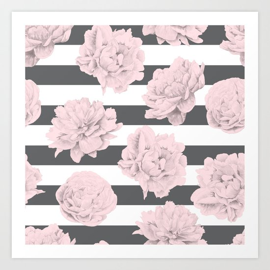 Rose Garden Stripes Pink Flamingo on Storm Gray and White Art Print