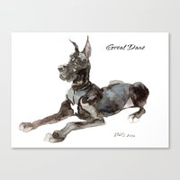 great dane Canvas Prints featuring Great Dane by Martynas Juchnevicius